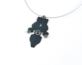 Statement necklace, enamel and Hematite