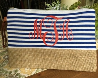 Monogrammed canvas/burlap bag
