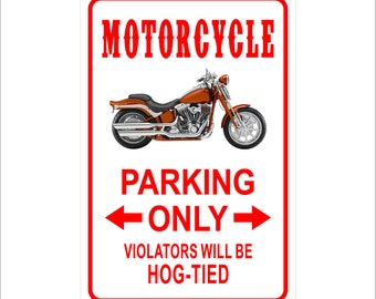 "Motorcycle Parking Only Violators will be Hog-Tied  Metal Sign Aluminum  8"" x 12"" Sign"