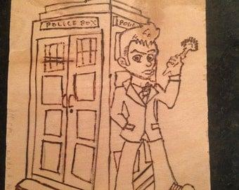 Tardis & 10 Doctor Who Pyrography
