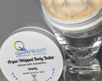 Organic Argan Whipped Body Butter with Astaxanthin | Quick Absorbing Non-Greasy Formulation | Serenity | Handmade Natural Skincare | Vegan