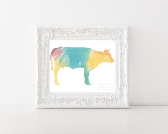 Cheery Cow Watercolor Print