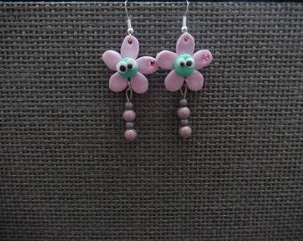 Earrings flowers zee silver mount