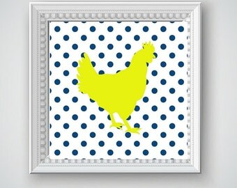 Navy Blue Rooster, Navy Blue Chicken, Yellow Rooster, Yellow Chicken, Navy Blue Yellow Wall Decor, Rooster Wall Decor, Chicken Wall Decor