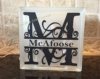 Personalized Night Light, Monogrammed Light Box, Frosted Glass Box, Wedding Gift, Gift for Her, Light Box Sign, Monogrammed Gift