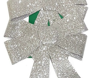 Christmas, New Years, Holiday or Special Occasion Silver Glitter Tie On Bow Destash Supplies