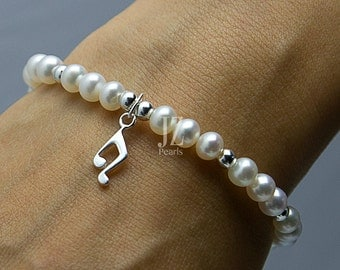 Pearl Bracelet/Anklet with Musical Charm, Ivory pearls & Sterling Silver beads Mother's Day Gift. Birthday. Love Gift. Special Occassion