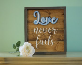 """Large Framed Rustic Wooden Sign """"Love never fails"""""""