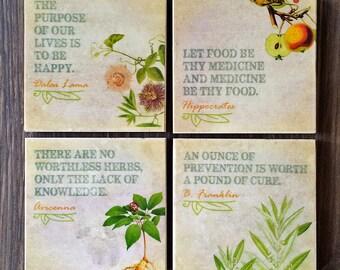 Stone Coaster Set, Ivory Travertine Stone Tile, Inspirational Quotes, Handmade Botanical Design, Flowers, Plants, Fruit