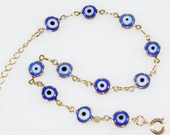 Blue Evil Eyes Bracelet/14K Gold Filled Bracelet/Dainty Gold Bracelet