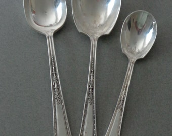 Romance Silverplate Flatware Holmes and Edwards International Silver Insico Sugar, Casserole and Serving Spoon Tablespoon 1925