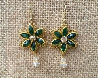 Emerald green swarovski crystal flower earrings