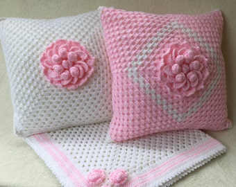 "Decorative pillow, Crochet pillow, nursery decore,crochet cushion, pink c rochet pillow, throw pillow, 14"" cushion"