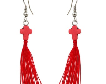 Earrings red Pompom and stone cross