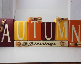 Autumn Blessings Wood Block Set