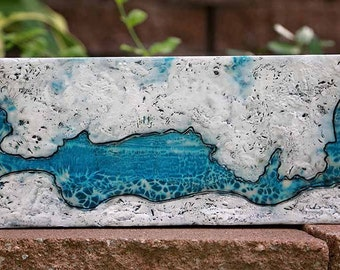 """15"""" x 6"""" Arctic Waters Original Encaustic Painting"""