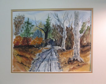 ROAD beside large TREES, in the WOODS Original watercolor by C.M. Anderson (andy)