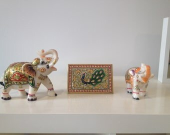 Hand made marble jwellery box and 2 marbel elephants with indian traditional