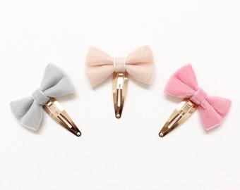 Velvet bow baby toddler hair snap clip