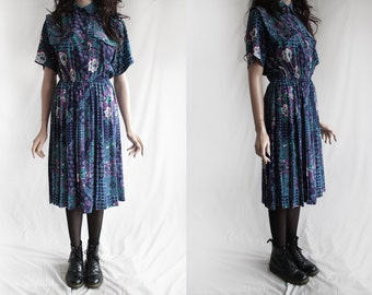 70s Vintage Decorated Dark Blue Teal Purple Button Up Pleated Midi Dress