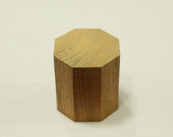 Handcrafted WOOD Octagonal PRISM(Polygon), Home, Garden, Pot, Decor, Jewellery Display Stand, TEAK, 70-110-mm or 3-4-inch Width