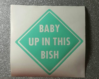 Baby Up In This Bish, Baby On Board, Caution, Car Decal