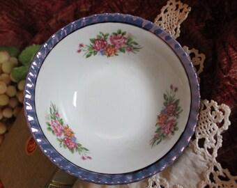 "Vintage Yamatsu Purple Luster and Floral 7"" Vegetable Bowl"