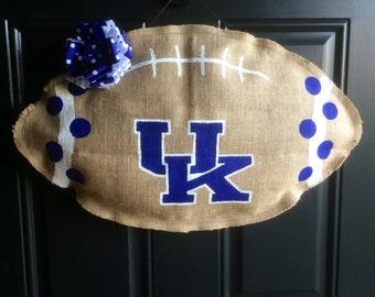 University of Kentucky Football Burlap Door Decoration