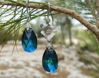Swarovski Dangle Earrings,Blue Earrings,Green Earrings, Rhodium plated earring,Bridal Earrings,Bridesmaid Earrings,Gift for Her,Drop Earring