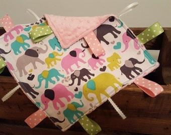 Elephants Tag Blanket - Sensory Blanket - Lovey