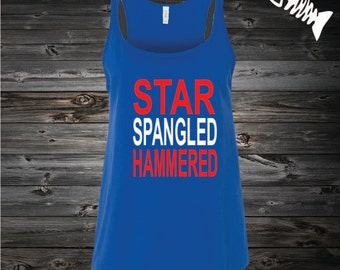 Fourth of July, 4th of July Tank, Country Festival Top. American-Flag, July 4th Shirt, Memorial Day shirt STAR SPANGLED HAMMERED