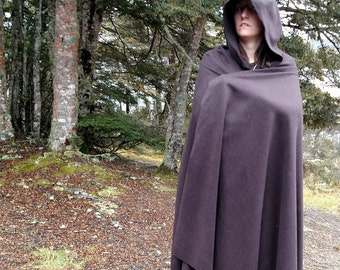 Pure Wool Half Circle Medieval Hooded Cloak, Unlined with Clasp Variations Available - Ideal for LARP, Renaissance or Medieval Cosplay