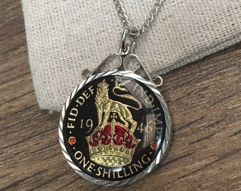 1946 one shilling hand enamelled coin pendant - black and purple