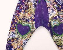 Sweetheart kantha harems for Kids, Toddler and Baby Harem pants, Hippie Baby Kids, Bohemian Clothing, 12 mos, 2t, 3t, 4t, 5t, 6t