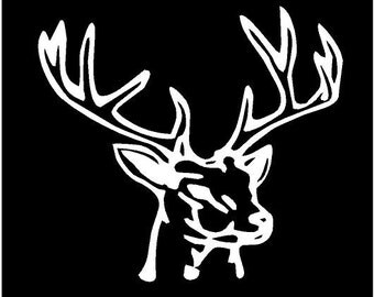 Vinyl Decal Deer Head antler horn buck truck country bumper sticker car truck laptop