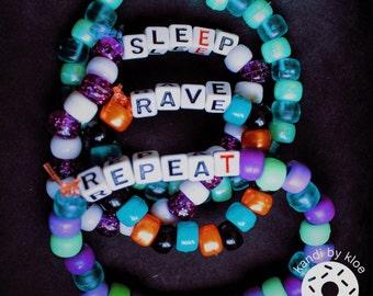 4 Kandi Bracelets (Eat, Sleep, Rave, Repeat) Bundle