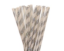 Paper Straws, Silver Glitter Striped Paper Straws, Silver Glitter Sweet 16 Party Decor, Bling Bachelorette Straws, Glam Tea Party Supplies