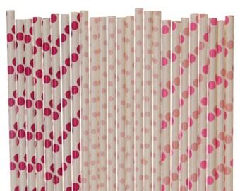 Paper Straw Mix, Dark Pink Light Pink Hot Pink Polka Dot Straw Mix, 1st Birthday Decor, Baby Shower, Gender Reveal. Pink Wedding Paper Straw