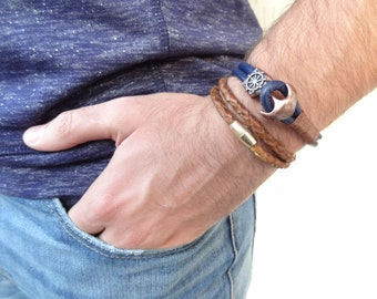 EXPRESS SHIPPING,Men's Blue Leather Bracelet, Men's Jewelry,Antiquing Brass Bracelet,Men's Cuff Bracelet,Ship Rudder Clasp,Father's Day Gift
