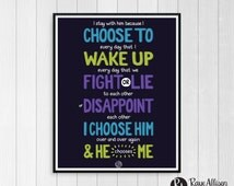 Allegiant - I Choose To - Divergent series - book quote - Quote poster - Handlettered printable quote art wall decor - Instant download