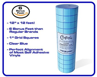 "Craftopia's 12""x12 FT Clear Transfer Paper Tape Roll w/ Blue Alignment Grid 