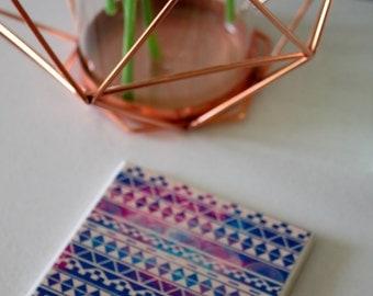 Aztec Print Ceramic Coasters - Purples - 4 Piece Coaster Set