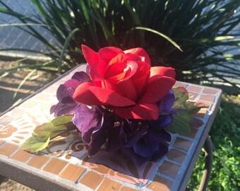 Red Rose in Hydrangeas Hair Clip