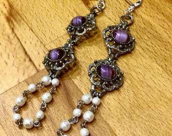 Purple and pearly earrings