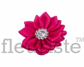 HOT PINK Ribbon Flower With rhinestone center, Satin flower, Fabric rose, Rolled Rosette, Wholesale Flower, Fabric Flower, Satin Flower, 3pc