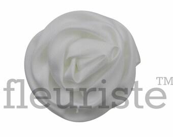 WHITE Satin Rosette, Rolled Rosette, Fabric rose, Rolled Rosette, Wholesale Flower, Fabric Flower, Wedding Flower, Flower Embellishment