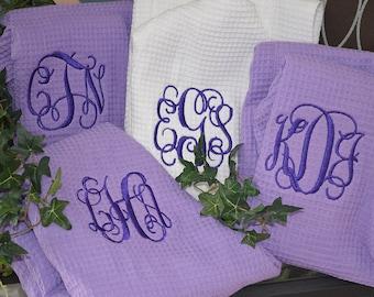 Set of 4 Monogram Wedding Robes - Fast Shipping! Monogram Robes, Personalized Robes, Bridal Robes, Brides Robe, Thigh-Length Waffle Weave