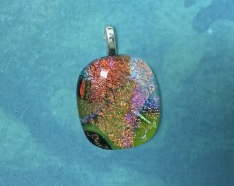 Dichroic, Fused Glass, Multi Colored Pendant