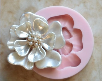 Flower Silicone Mold, Molds, Plant, Vegetation, Crafts, Jewelry, Scrapbooking, Resin, Clay G334