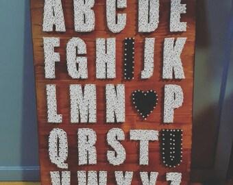 Alphabet A-Z I Love you string art 60cm x 40cm